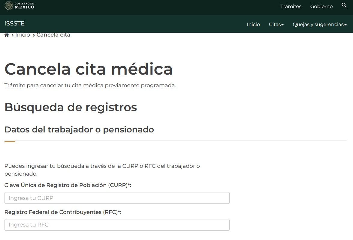 Sistema Cita Médica Telefónica e Internet (Cancelar cita)